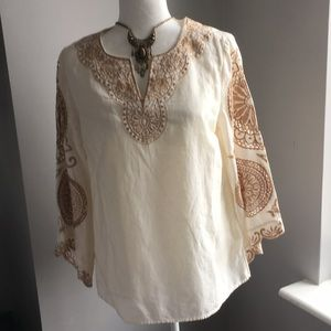 Chico cream n gold linen top new w tag s 1p